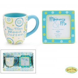 """New Mom Need Coffee"" Gift Set with Coffee Mug And Photo Frame Boy"