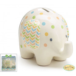 "Burton and Burton Ceramic Bank Elephant, White with Polka Dots, 6"" H"