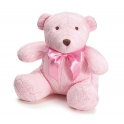 "Adorable 8"" Pink Knit Bear"